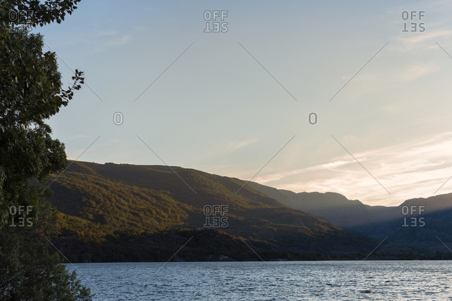 Views of the popular lake of Sanabria at sunset during the summer