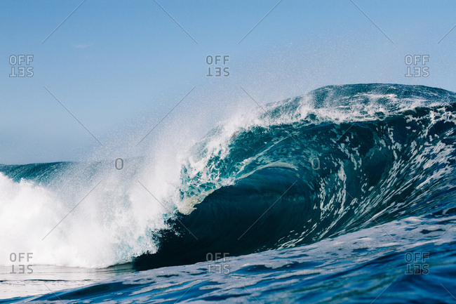 blue wave breaking in the Atlantic Ocean