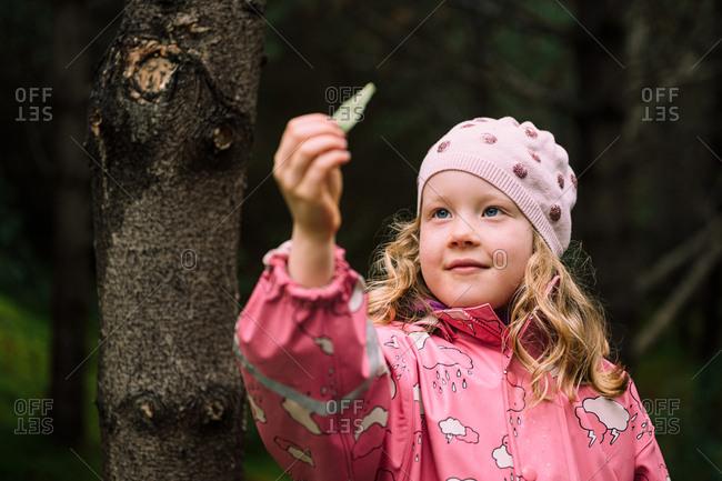 Cute little girl examining leaf in woods