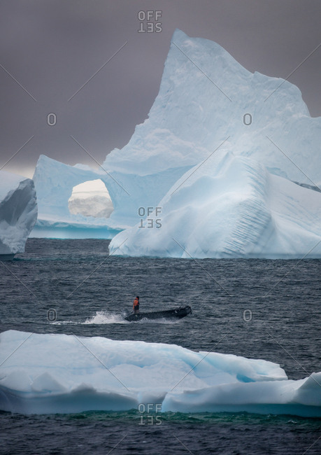 Giant icebergs with window