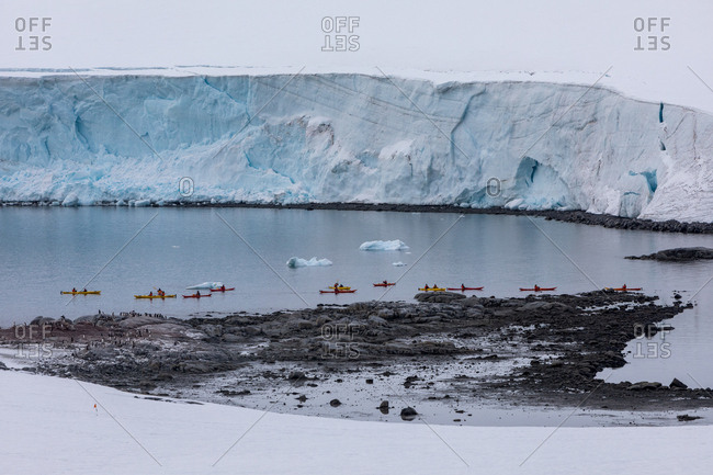 Kayakers in front of ice shelf