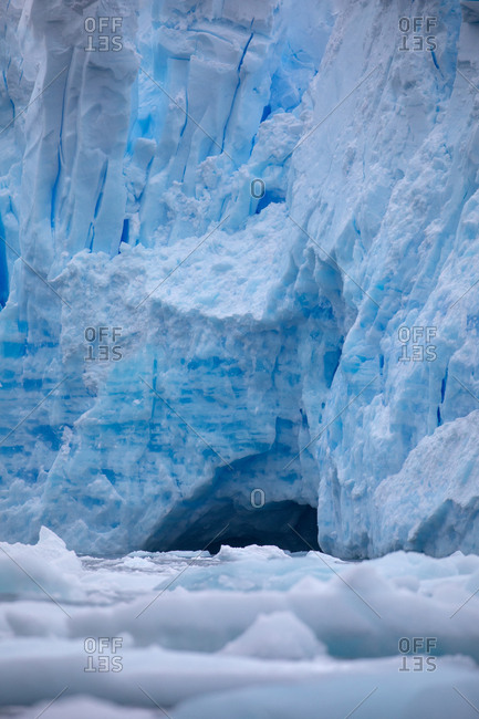 Ice cave and icebergs