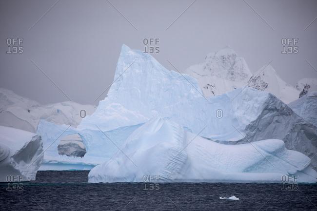 Zodiac amongst icebergs