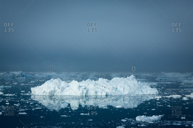 Icebergs floating in misty water