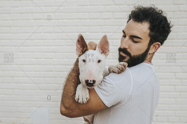 Bearded man hugging white bull terrier dog