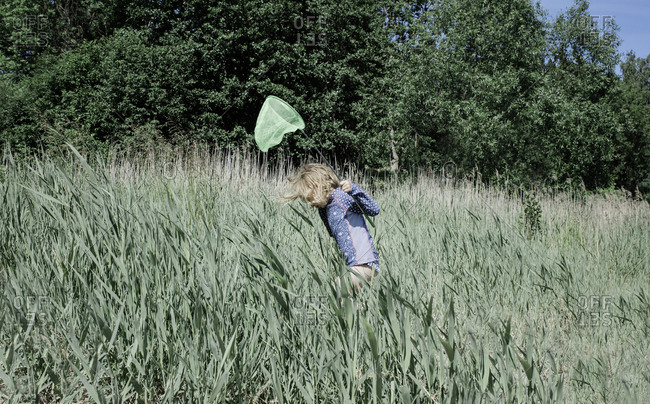 young girl walking through long grass with a fishing net in summer