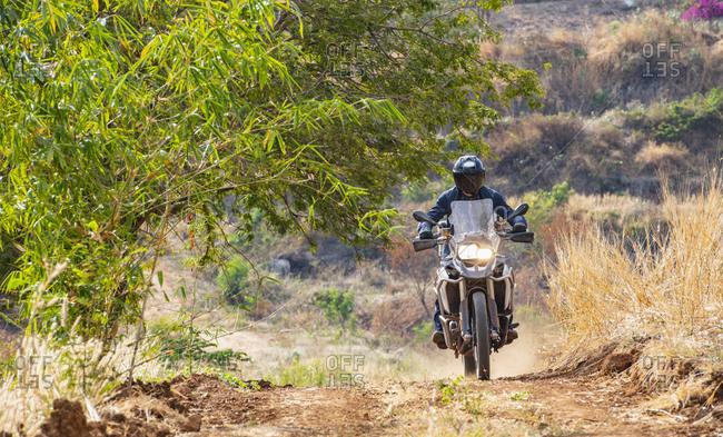 Man riding his ADV motorbike off road