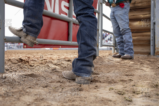 United States, Arizona, Chandler - March 9, 2019: Boots and spurs from a low angle at the Arizona black rodeo