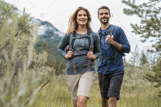 Young couple on a hiking trip- Vorderriss- Bavaria- Germany