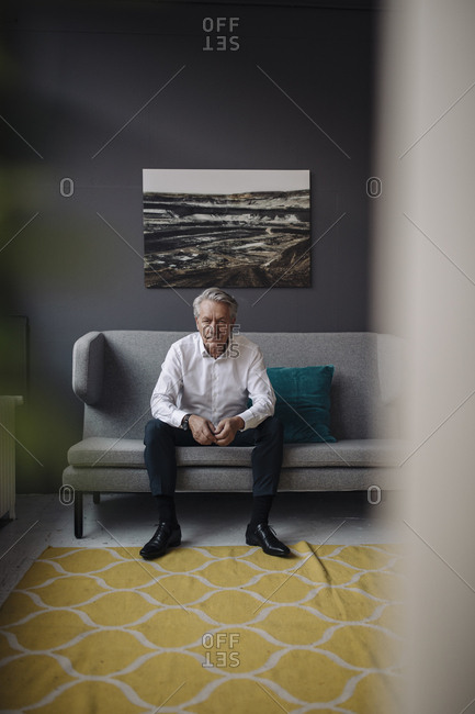 Portrait of senior businessman sitting on a couch