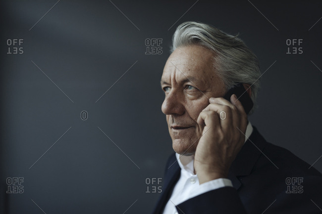 Portrait of a senior businessman talking on cell phone