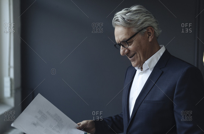 Senior businessman looking at papers