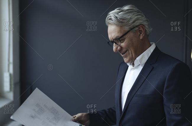 Senior businessman looking at papers