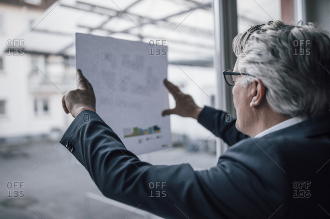 Senior businessman looking at paper at the window