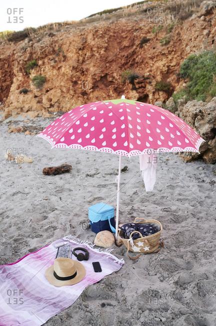 Beach equipment on the beach- Menorca- Spain.
