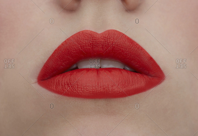 Made up red lips- close-up