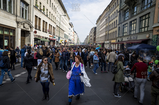 Berlin, Germany - May 1, 2019: Crowds on Oranienstrasse on May Day