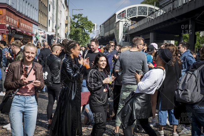 Berlin, Germany - May 1, 2019: Crowds on Skalitzer Strasse enjoying the May Day Festival