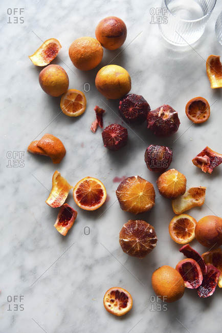 Blood Oranges on a marble work surface