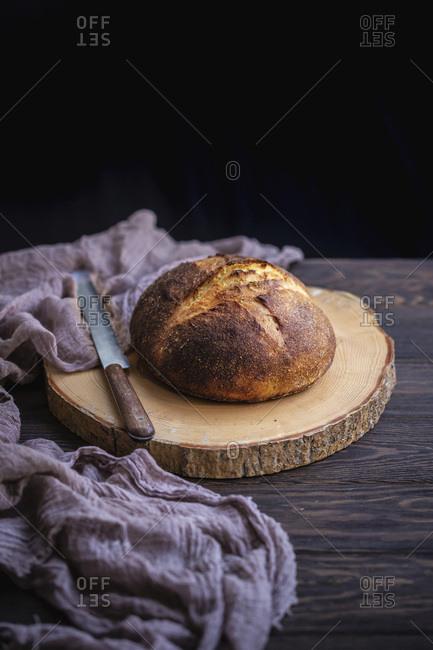 Sourdough corn bread on a wooden board