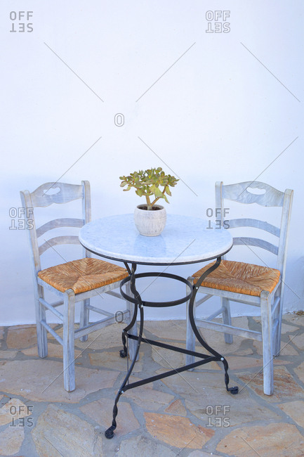 Table for two at small cafe, Naxos, Greece