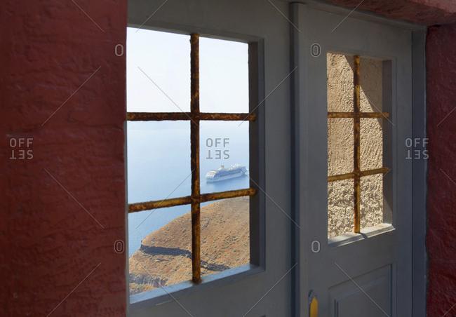 View of a cruise ship in the harbor, Santorini, Greece