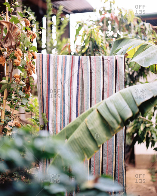 Striped textile on clothesline in Guatemala