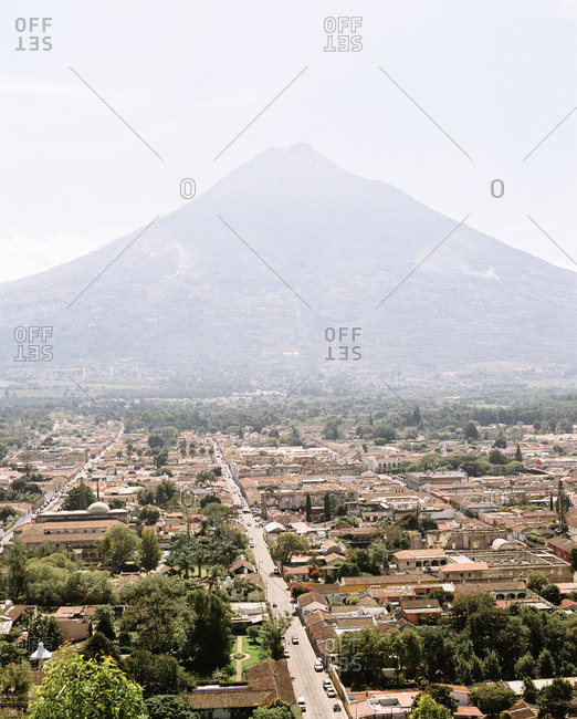 View over city and Volcan de Agua, Antigua, Guatemala