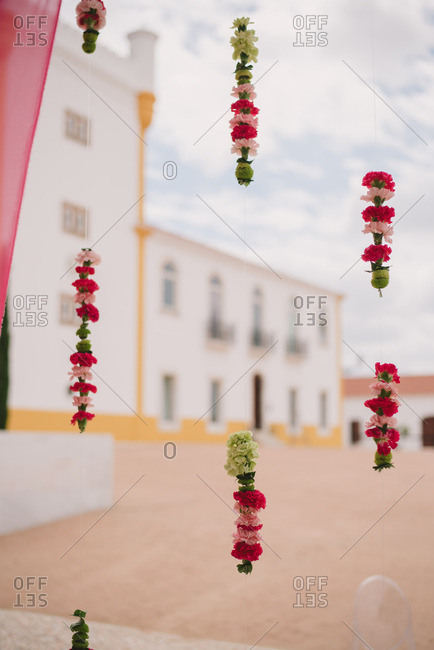Hanging floral decorations for wedding
