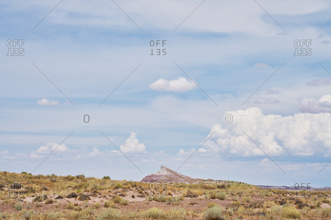 Peak seen in the distance at Petrified Forest National Park, Arizona