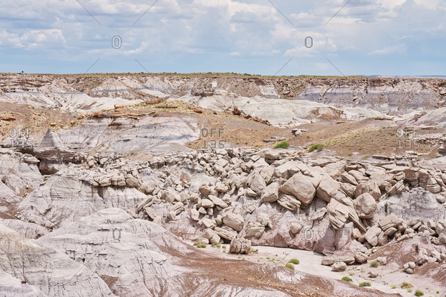 Boulders in the badlands in Petrified Forest National Park, Arizona