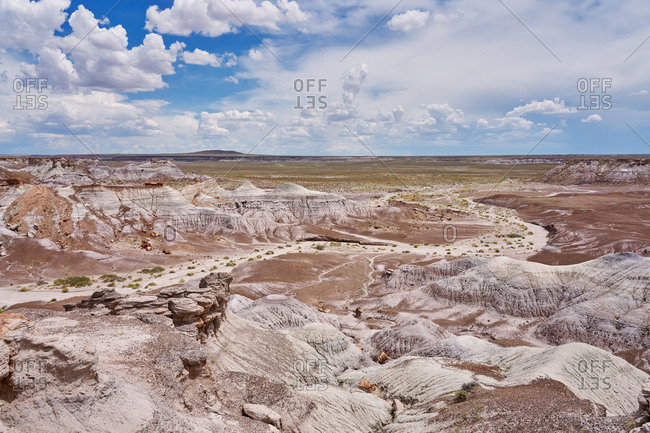 View over the badlands at Petrified Forest National Park, Arizona