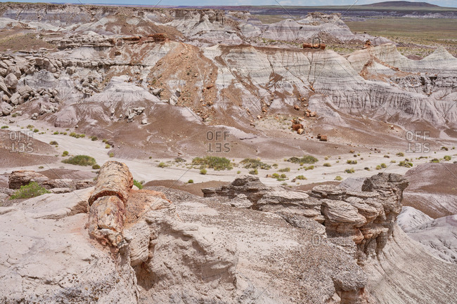 Bird's eye view over the badlands at Petrified Forest National Park, Arizona
