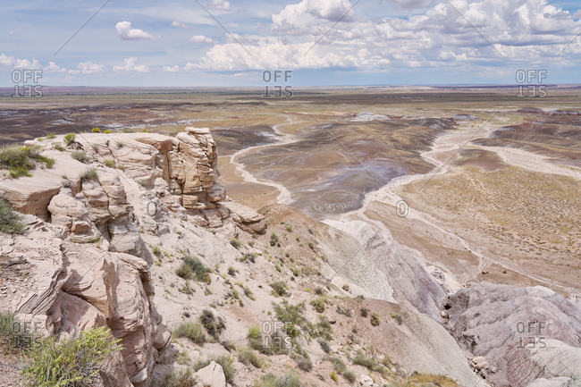 Vast desert viewed from cliff in Petrified Forest National Park, Arizona