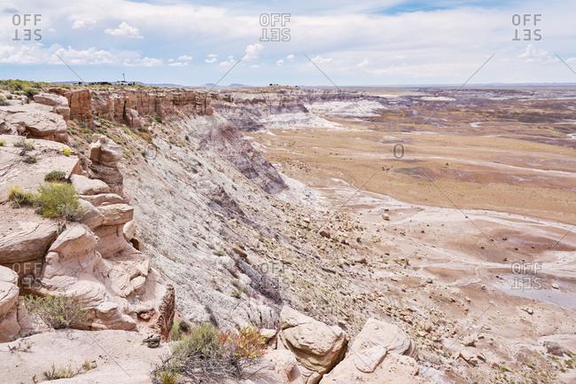 Rocky desert landscape at Petrified Forest National Park, Arizona