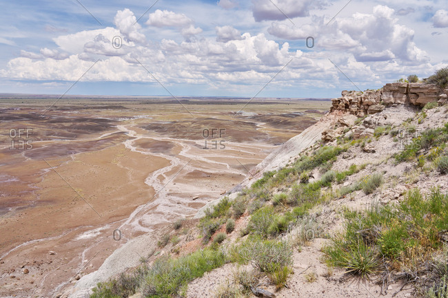 Badlands viewed from cliff in Petrified Forest National Park, Arizona
