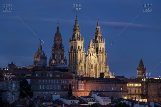Santiago de Compostela view at night. UNESCO World Heritage Site. Galicia, Spain