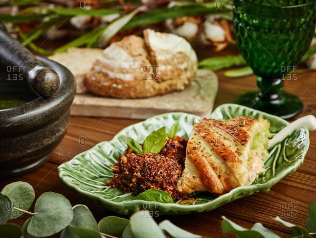 Salmon and mozzarella puff pastry