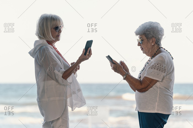 Side view of aged confident thoughtful modern grey-haired seniors browsing mobile phones standing on sea background