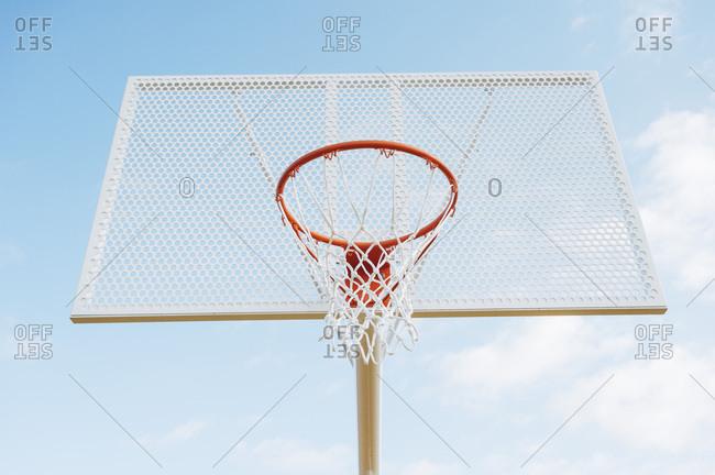 Outdoor basketball court from below