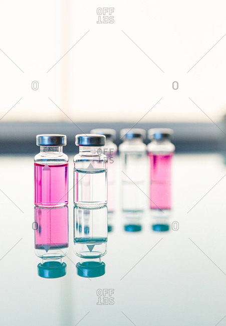 Scientific or medical samples on glass table