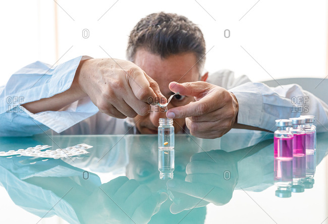 Assistant making test with samples in laboratory
