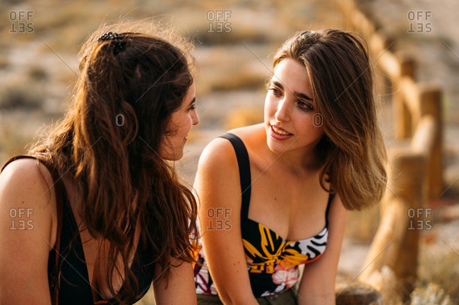 Pretty young beautiful women relaxing on wooden fence chatting and looking at each other on blurred nature background