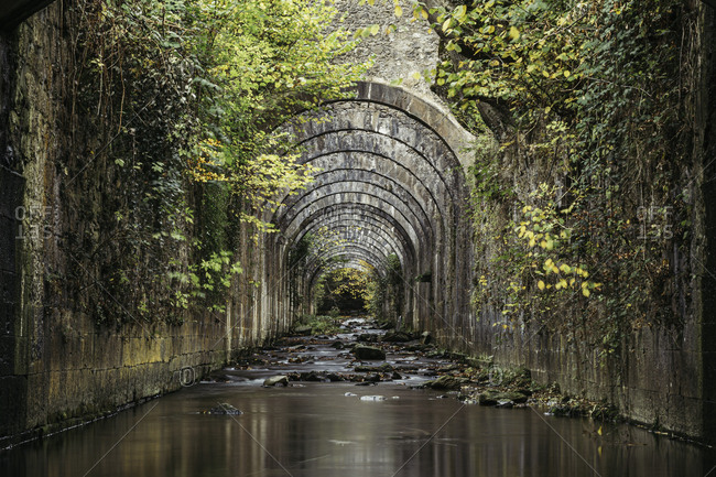Mysterious calm river flowing between old stony walls of tunnel overgrown with vegetation
