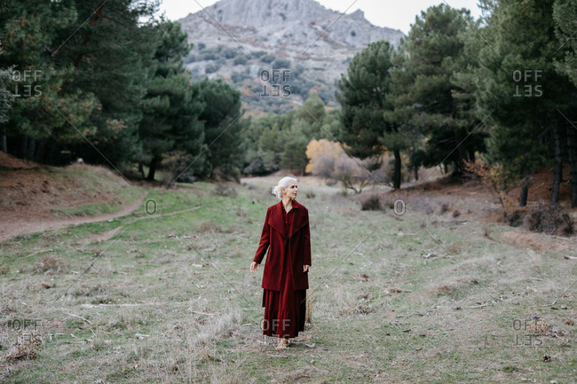 Carefree barefoot blond woman in red coat strolling along pine trees on chilly day