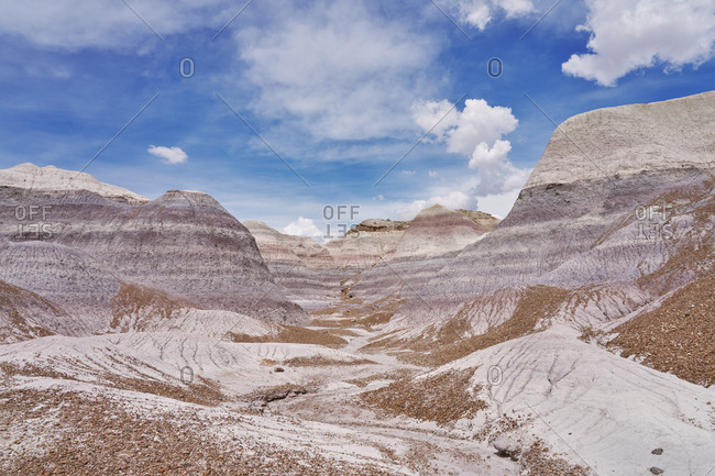 Textured canyons in the badlands, Petrified Forest National Park, Arizona