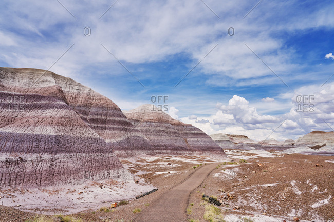 Paved trail in the Petrified Forest National Park, Arizona