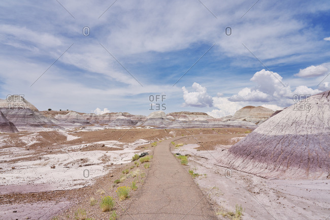 Paved path in the Petrified Forest National Park, Arizona