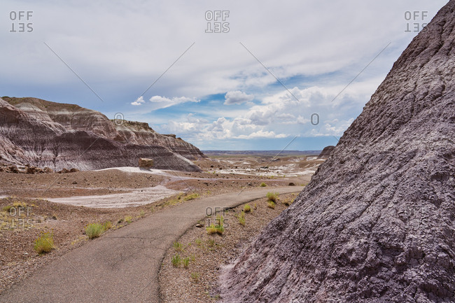 Paved hiking trail in the Petrified Forest National Park in Arizona