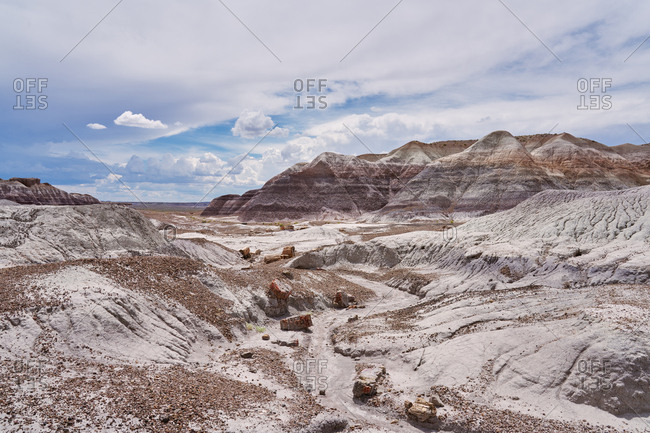 View of petrified wood in the canyons at Petrified Forest National Park, Arizona
